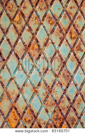 Rusted Green Steel Plate With Relief Pattern
