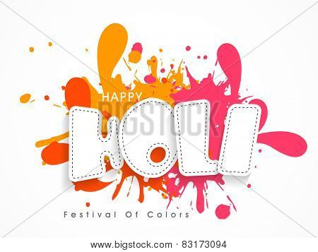 Indian festival of colors celebration poster or banner design with stylish text Happy Holi on splash background.