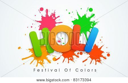 Indian festival of colors celebration poster or banner design with glossy text Holi on splash background.