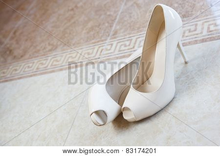pair of woman wedding high heels open toe shoes