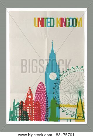 Travel United Kingdom Landmarks Skyline Vintage Poster