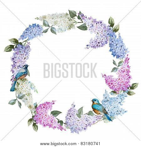 Lilac wreath and birds