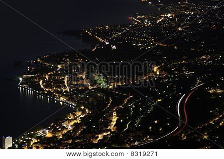 Night panorama Montreux Vevey and swiss riviera from Caux Switzerland poster