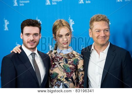 BERLIN, GERMANY - FEBRUARY 13:. Madden, L. James, Kenneth Branagh, 'Cinderella' photocall.65th Berlinale International Film Festival at Grand Hyatt Hotel on February 13, 2015 in Berlin, Germany