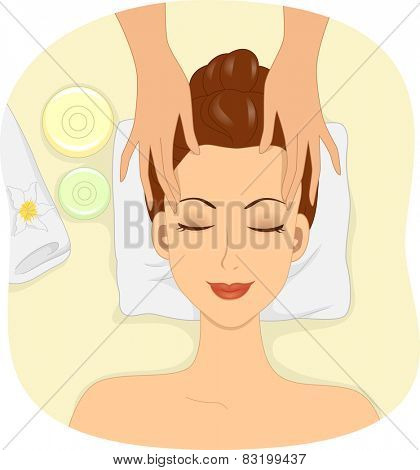 Illustration of a Woman Having Facial Mask Applied to Her Face