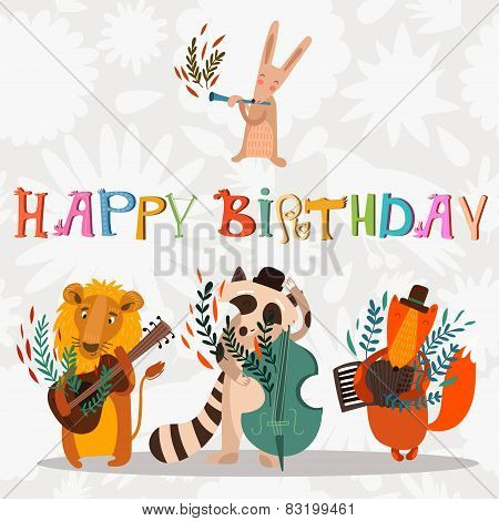 Stylish Happy birthday background. Animals - musicians on birthday party. Bright childish holiday card in vector. poster
