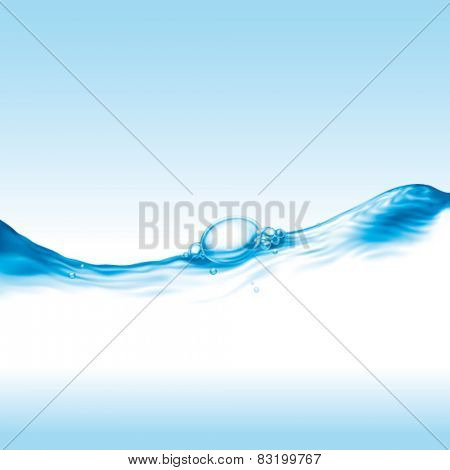 clear water wave with air bubble, photo-realistic vector illustration