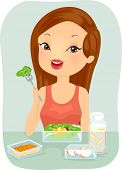 Illustration of a Woman Eating a Healthy Meal Pack poster