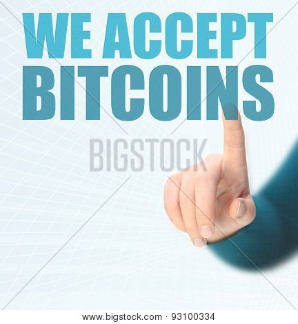 WE ARE ACCEPTING BITCOINS conept for business with bitcoins poster