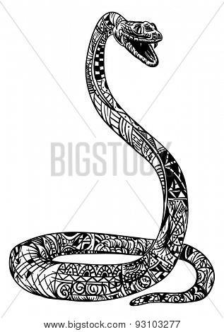 vector - snake cobra zentangle - isolated on background