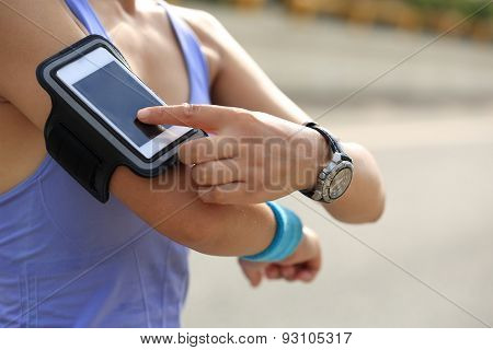 Runner athlete listening to music