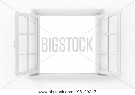 Open Window In The White Wall