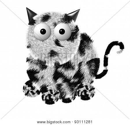 Illustration of fluffy gray Cat. Fluffy cat cartoon round. poster