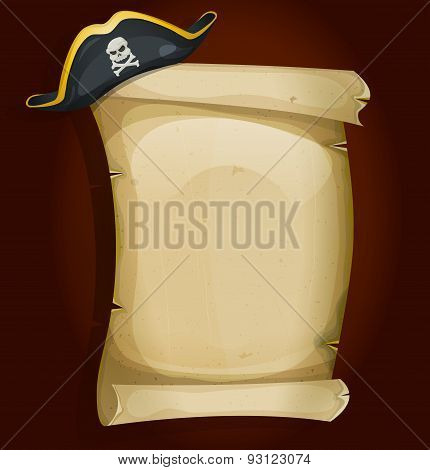 Illustration of a cartoon pirate tricorn hat settled on old parchment scroll sign poster