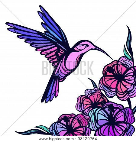 Flying tropical hummingbird on white background with flowers