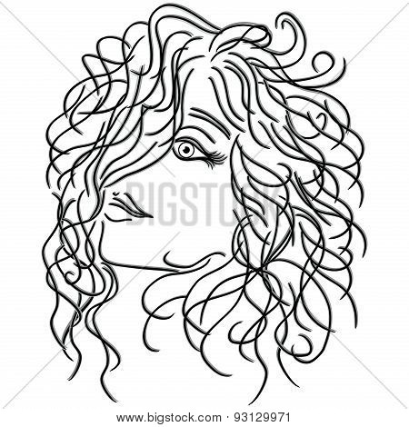 Girl With Flowing Curly Hair