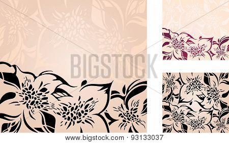 Floral decorative holiday background set