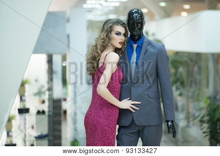 Sexy Girl And Mannequin