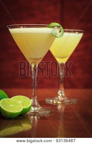 Lemon Cocktail Drinks With Dark Wooden Background