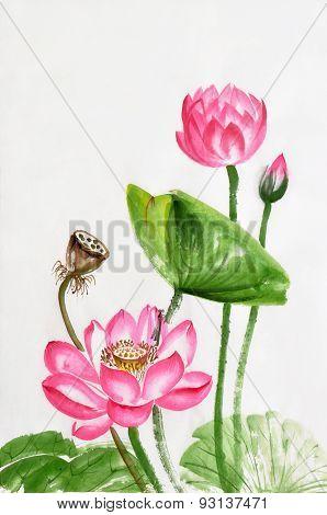 Lotus Flower Watercolor Painting