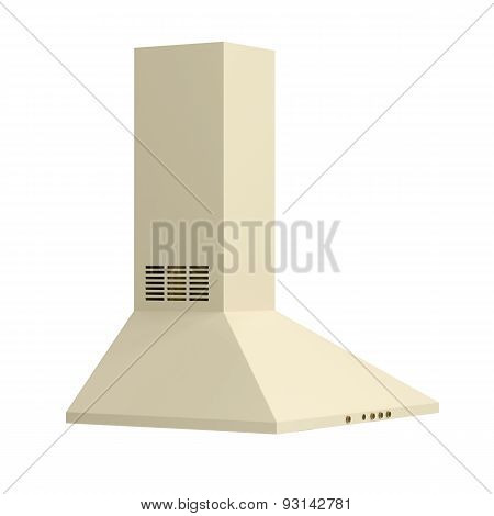 Beige cooker hood isolated on white background poster