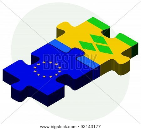 European Union and Saint Vincent and the Grenadines Flags in puzzle isolated on white background poster