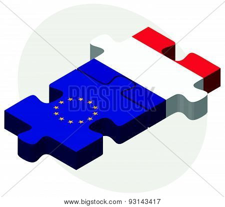 European Union and Saint Martin Flags in puzzle isolated on white background poster