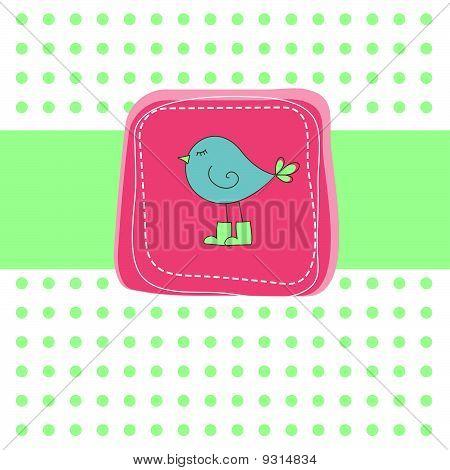 Romantic green card with bird.