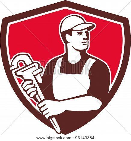 Plumber Wielding Monkey Wrench Shield Retro
