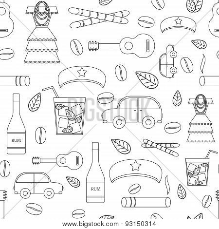 Seamless background with outline objects on Cuba theme with rum, coctail Cuba Libre, old car, sugar cane, coffee, guitar, cigar, national woman's dress and famous hat of Che for your cuban design poster