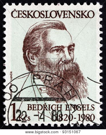 Postage Stamp Czechoslovakia 1980 Friedrich Engels, German Social Scientist