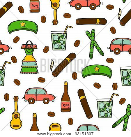 Seamless background with cute hand drawn colorful objects on Cuba theme with rum, coctail Cuba Libre, old car, sugar cane, coffee, guitar, cigar, national woman's dress and famous hat of Che for your cuban design poster