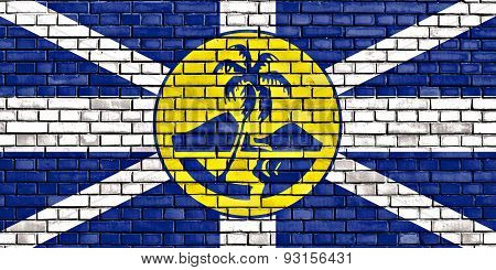 Flag Of Lord Howe Island Painted On Brick Wall