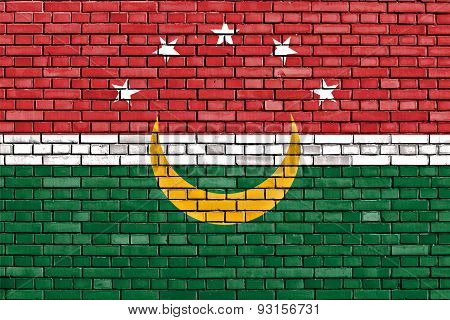 Flag Of Maghreb Painted On Brick Wall