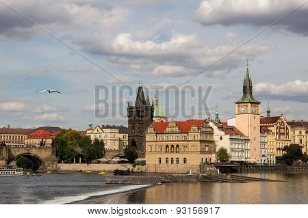 Picturesque view of the Vltava River in Prague