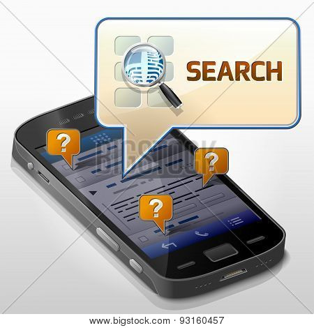 Smartphone With Message Bubble About Search