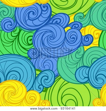 Abstract background of different clouds. Raster version