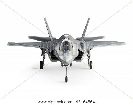F35 strike aircraft front view isolated on a white background. poster