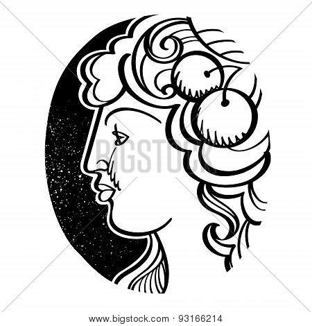 Woman's profile - Demeter, ancient Greek goddess