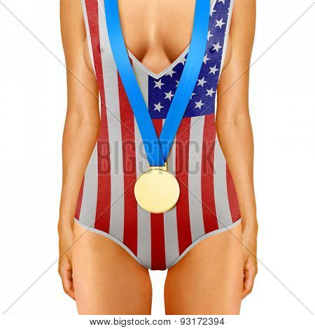 Part of American woman body wearing gold medal
