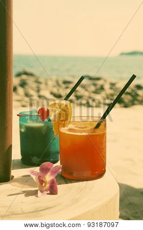 cocktails on the beach - retro style photo