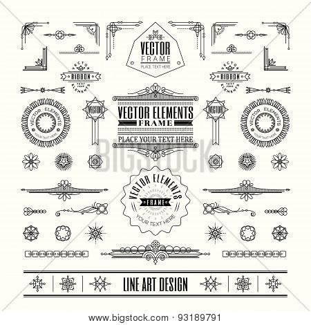 Set Of Linear Thin Line Art Deco Retro Vintage Design Elements With Frame Corner