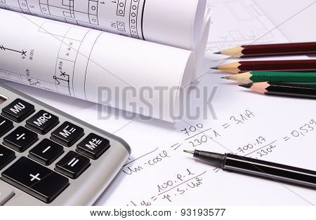 Rolled electrical diagrams calculator pencils and mathematical calculations for project drawings for the projects engineer jobs poster