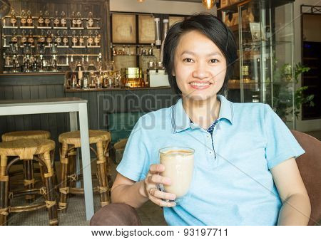 Customer Enjoying Hot Coffee Latte