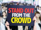 Stand Out From the Crowd card with crowd of people on background poster