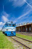 Railway station museum building and locomotive Haapsalu Estonia poster
