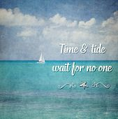 Inspirational Typographic Quote - Time & tide wait for no one poster