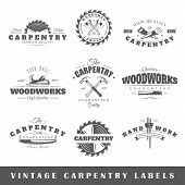 Set of vintage labels carpentry. Posters stamps banners and design elements. Vector illustration poster