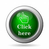 Click here icon. Internet button on white background poster
