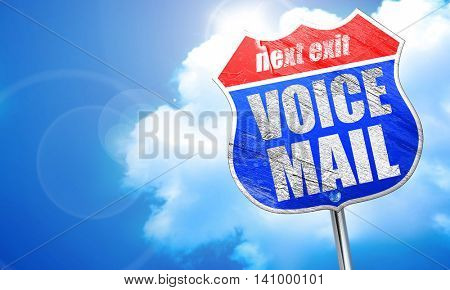 voice mail, 3D rendering, blue street sign